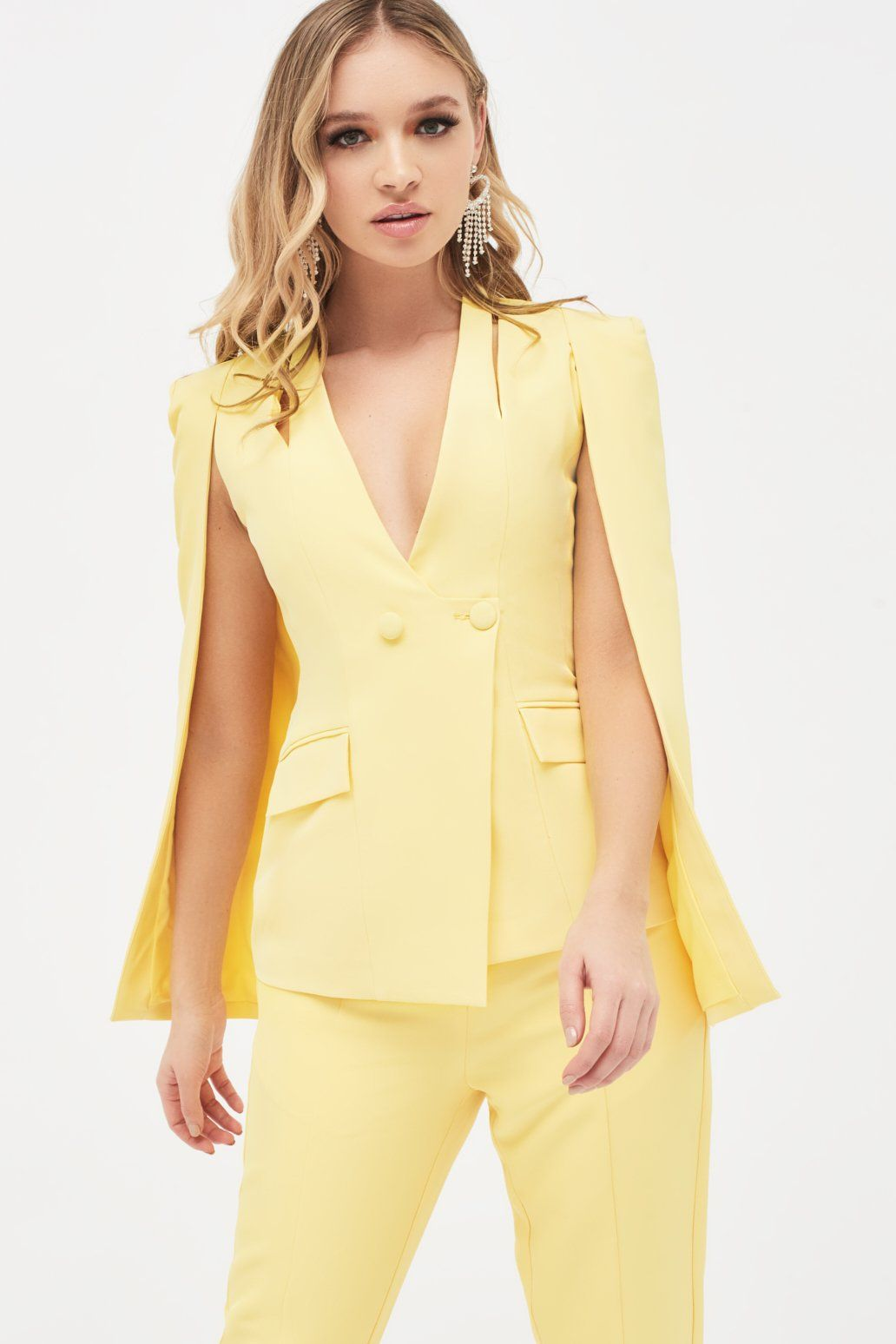 Cut Out Shoulder Collarless Blazer In Yellow