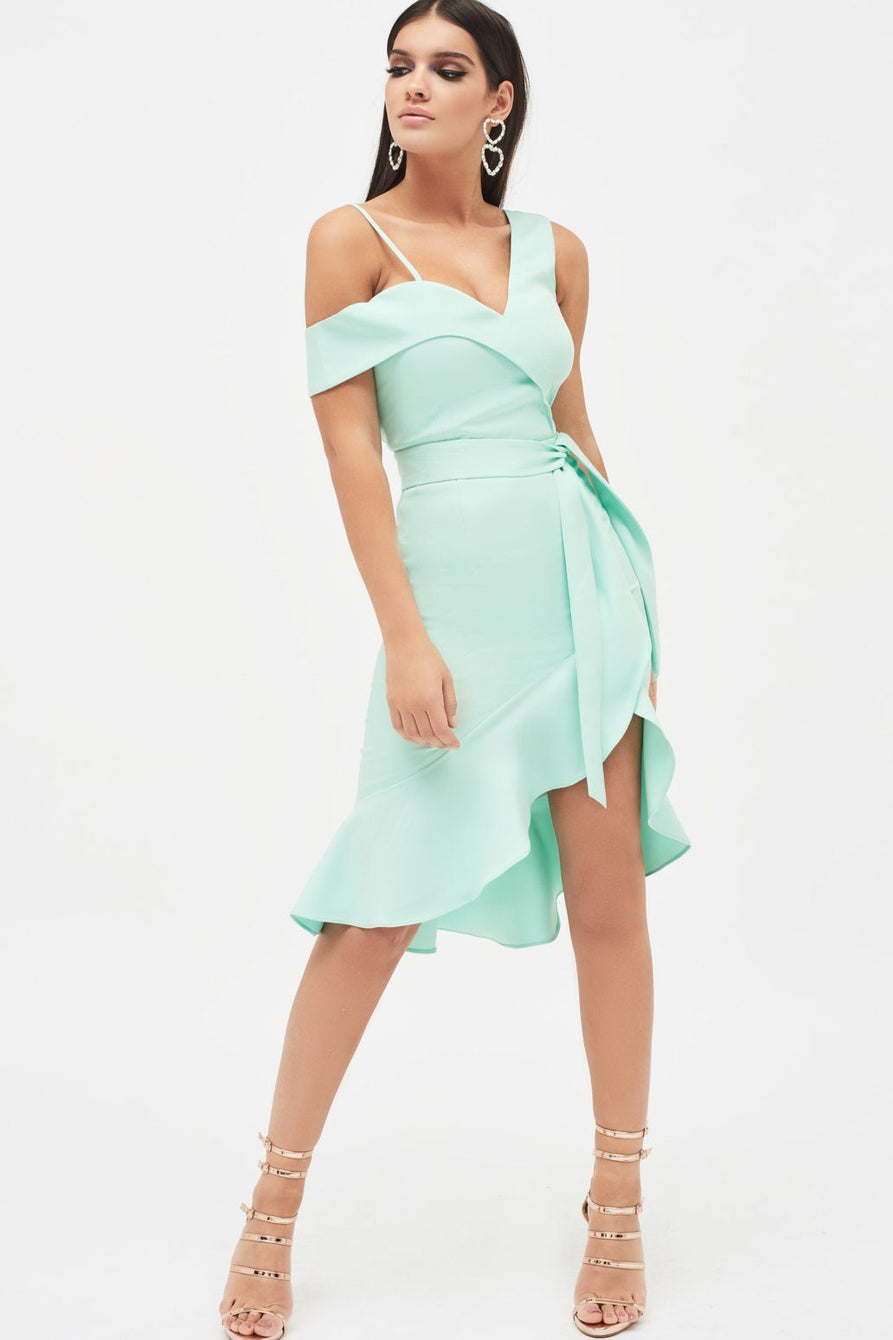 One Shoulder Ruffle Wrap Dress With Belt in Mint
