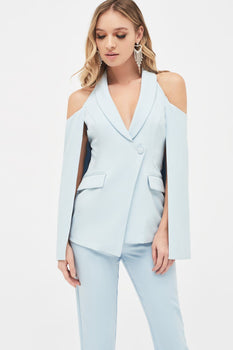 Cold Shoulder Fitted Cape Blazer in Light Blue