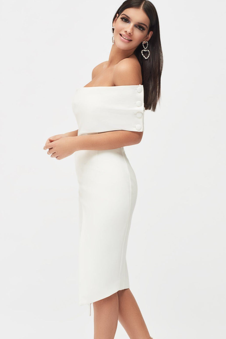Button Detail Cut Out Off Shoulder Midi Dress in White
