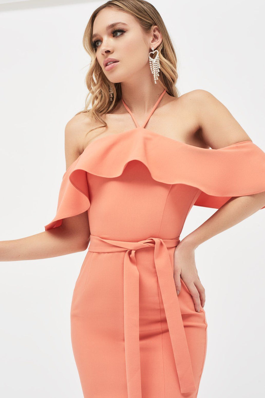 Bardot Draped Frill Midi Dress With Side Split in Papaya