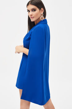 Cut Out Shoulder Detail Cape Blazer Mini Dress in Cobalt