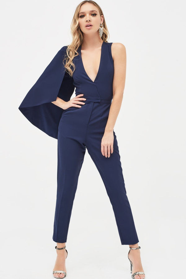 062f095e76 ... Half Cape V-Plunge Tapered Jumpsuit in Navy