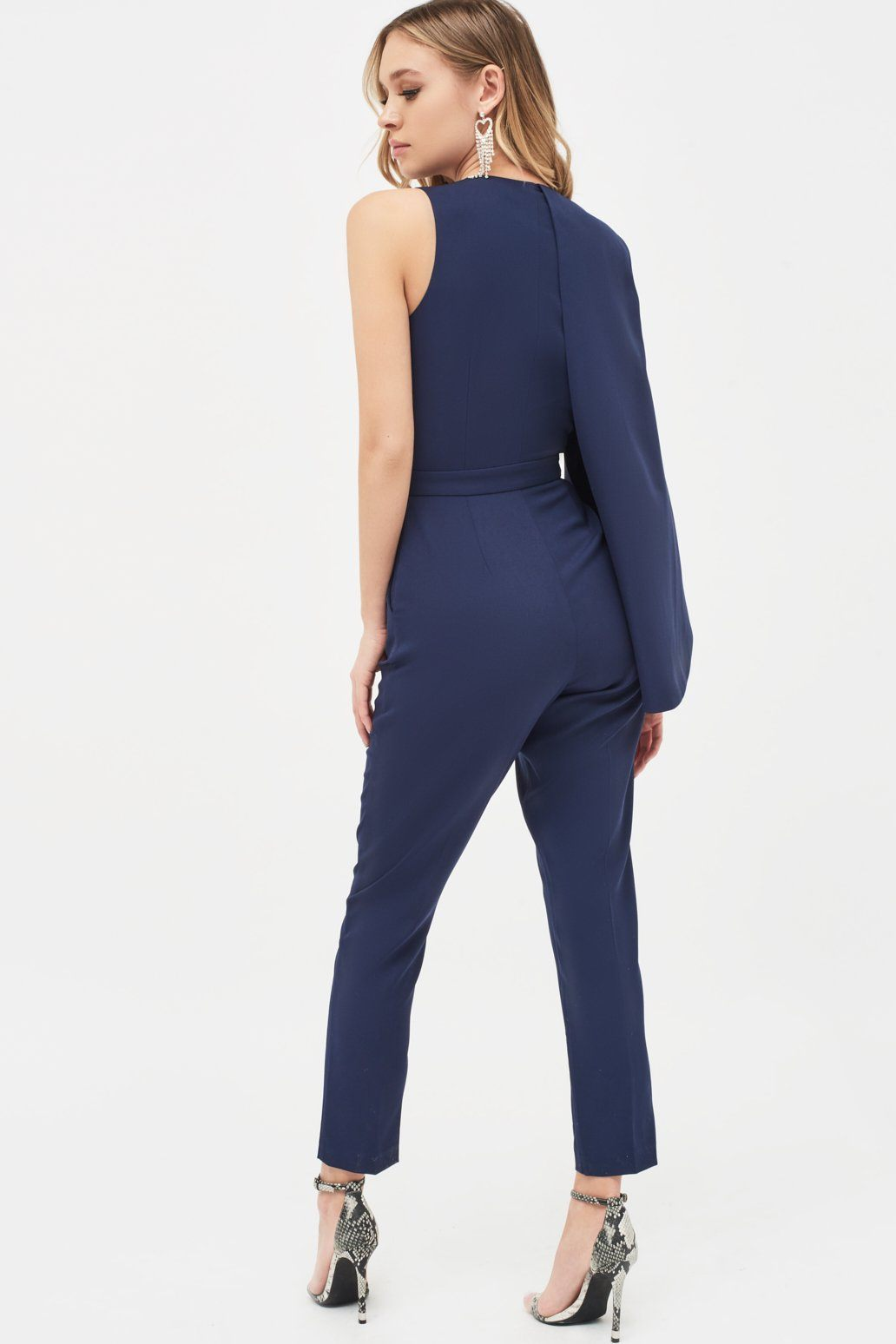 Half Cape V-Plunge Tapered Jumpsuit in Navy