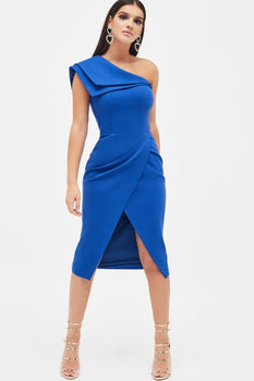 Double Layer One Shoulder Wrap Midi Dress in Cobalt