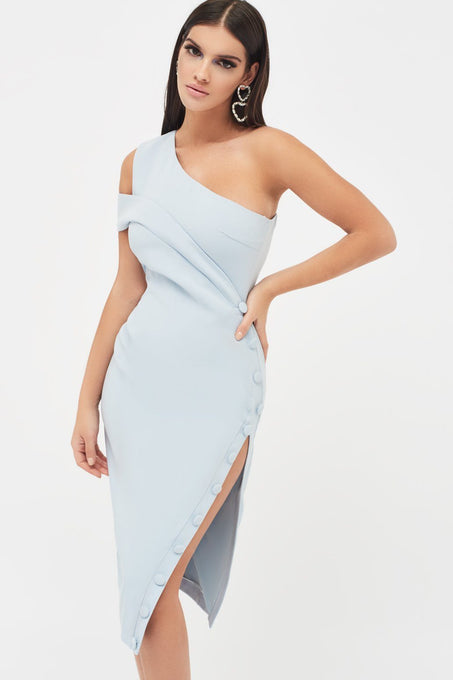Off Shoulder Button Detail Split Midi Dress in Light Blue