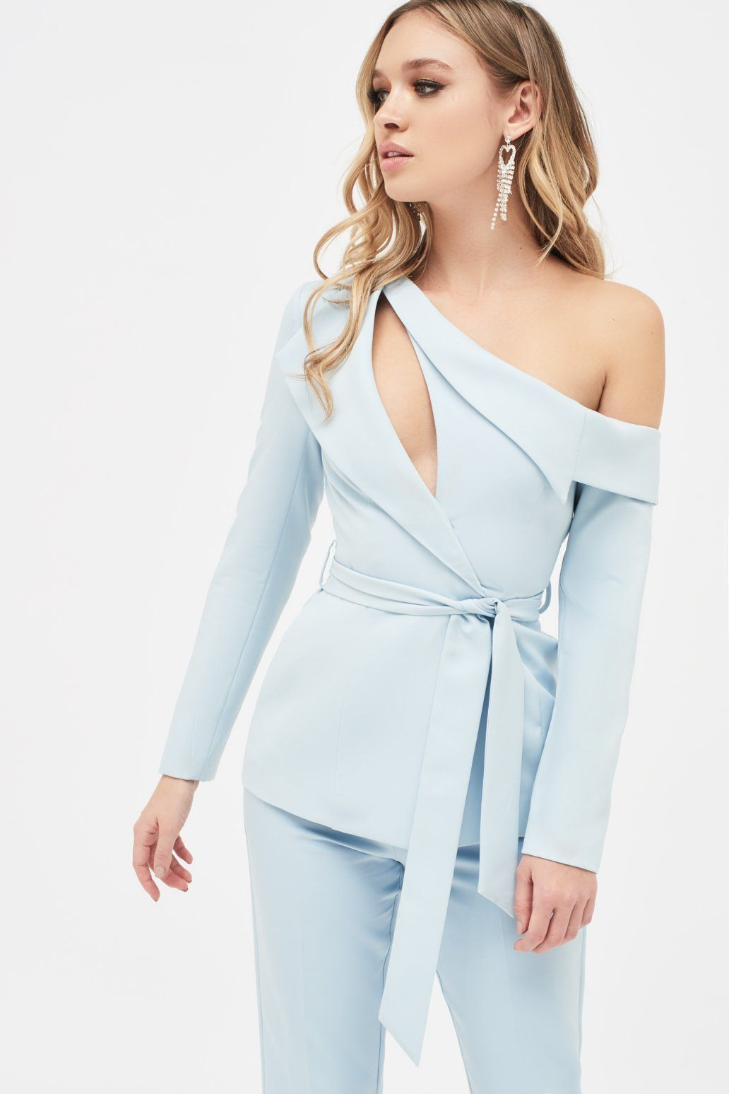 Cut Out One Shoulder Lapel Tailored Jacket in Dusty Blue