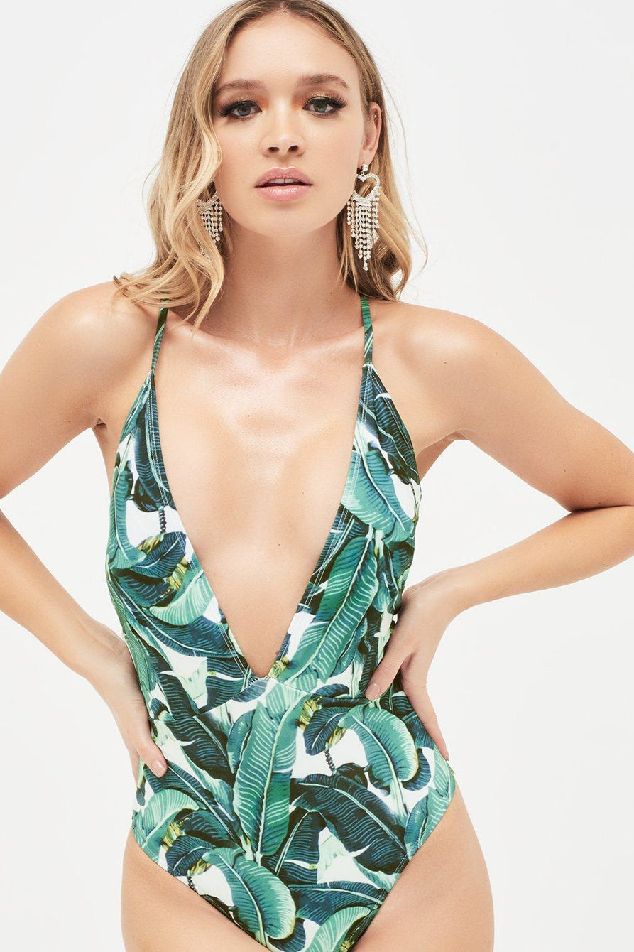 Deep Plunge Swimsuit in Palm Print