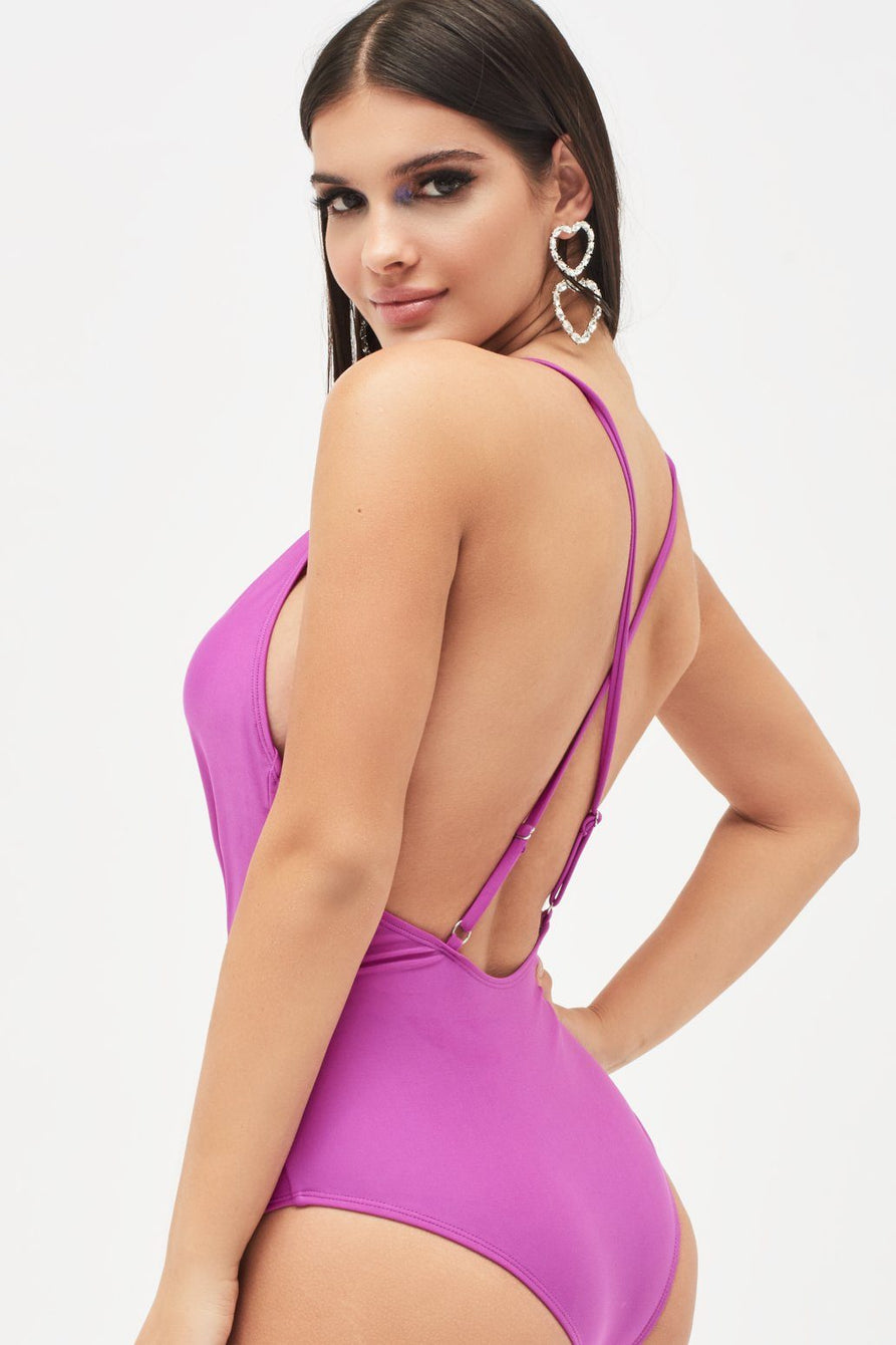 Deep Plunge Swimsuit in Neon Purple