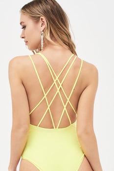 Multi Strap Back Swimsuit in Neon Yellow