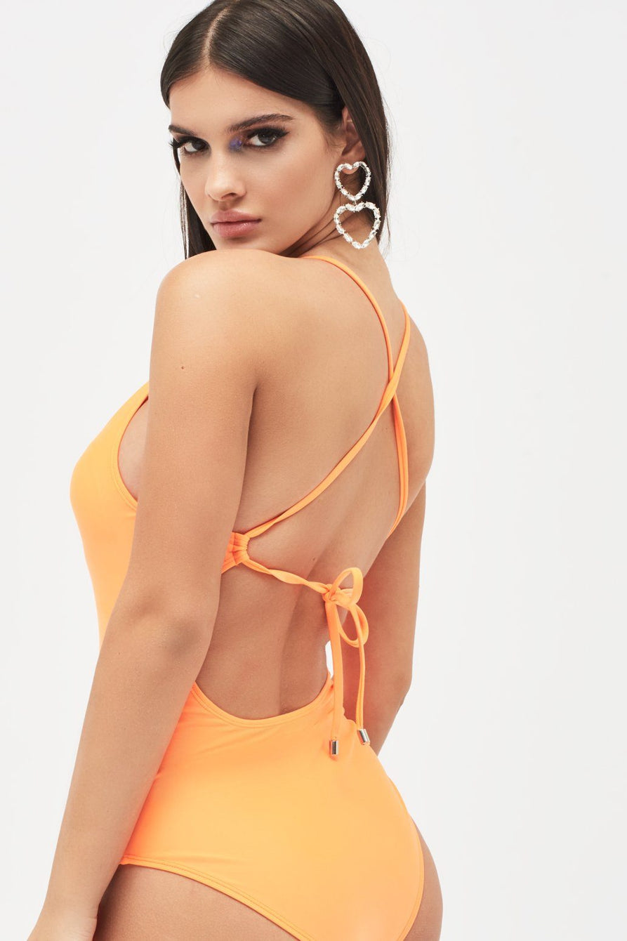 Plunge Front Swimsuit with Lace Up Detail in Neon Orange