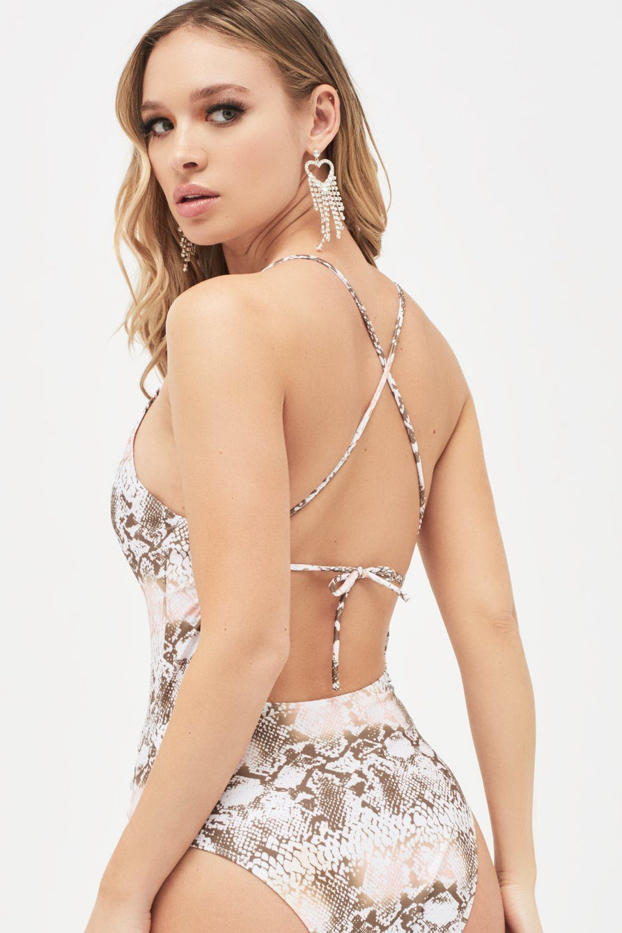 Plunge Front Swimsuit with Lace Up Detail in Snake Print