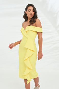 Bardot Midi Dress With Waterfall Ruffle in Yellow