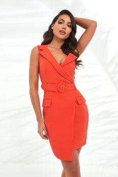One Shoulder Blazer Mini Dress in Hot Coral