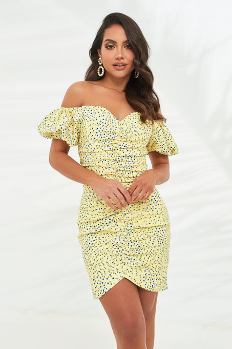 Pre-Order Off Shoulder Puff Sleeve Mini Dress in Yellow Floral Print
