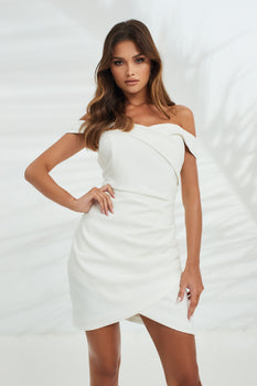 Bardot Pleated Mini Dress in White