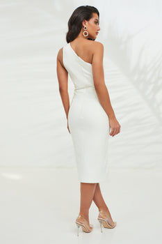 One Shoulder Peak Bustier Midi Dress in White