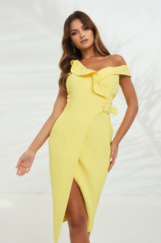 Circle Buckle Ruffle Wrap Dress in Yellow
