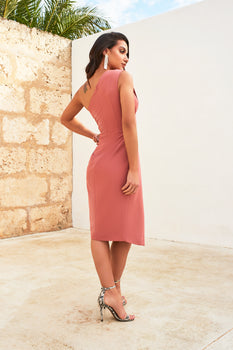 One Shoulder Pleated Midi Dress in Dusty Rose