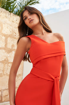One Shoulder Double Layer Midi Dress in Hot Coral