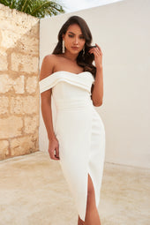 Pleated Off Shoulder Midi Dress in White