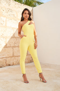 One Shoulder Peak Bustier Jumpsuit in Yellow
