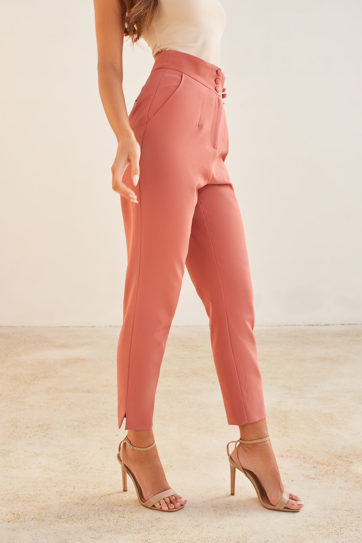 Button Detail Tapered Trouser in Dusty Rose