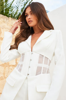 Pre-Order Sheer Corset Blazer in White