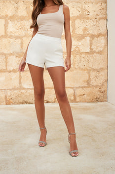 Mid Rise Tailored Shorts in White