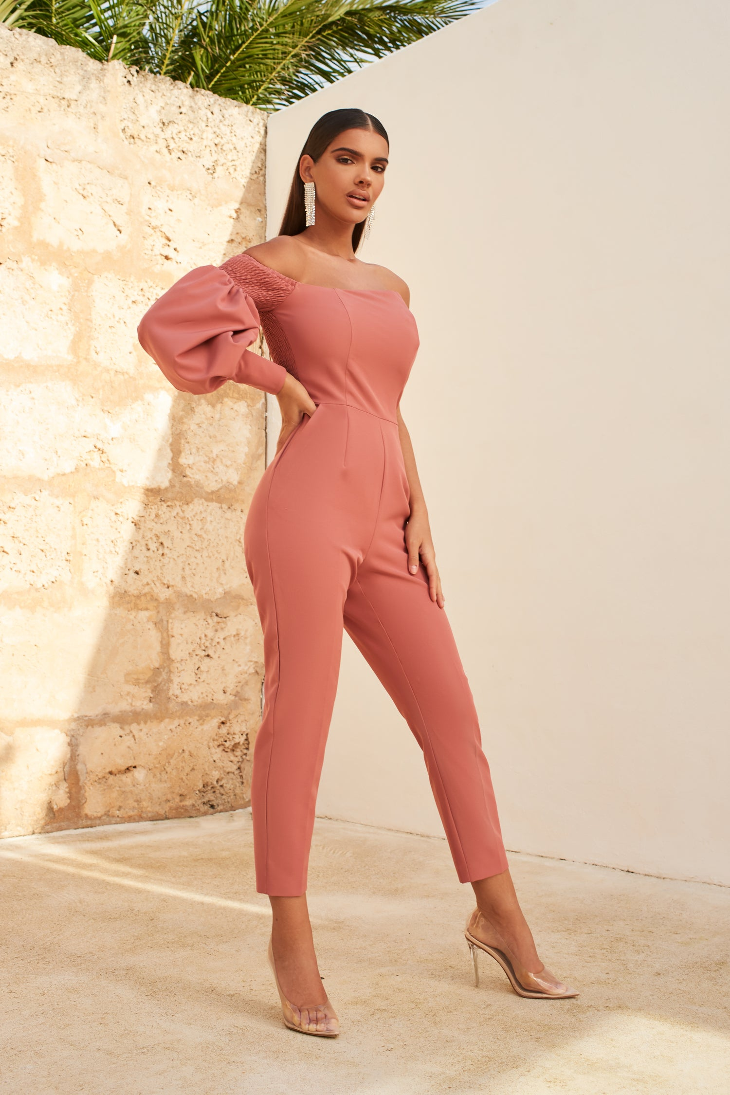 One Balloon Sleeve Tapered Jumpsuit In Dusty Rose