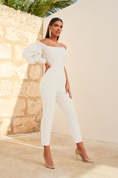 One Balloon Sleeve Tapered Jumpsuit in White