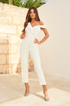 Circle Buckle Ruffle Wrap Over Jumpsuit in White