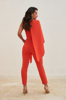 One Shoulder Cape Jumpsuit in Hot Coral