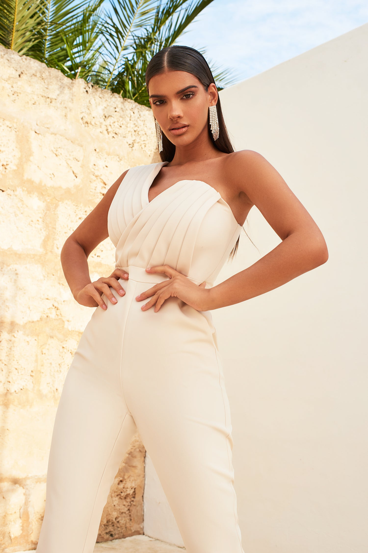 One Shoulder Pleated Jumpsuit in Champagne