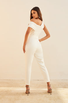 One Shoulder Double Layer Jumpsuit in White