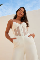 Sheer Front Corset Wide Leg Jumpsuit in White