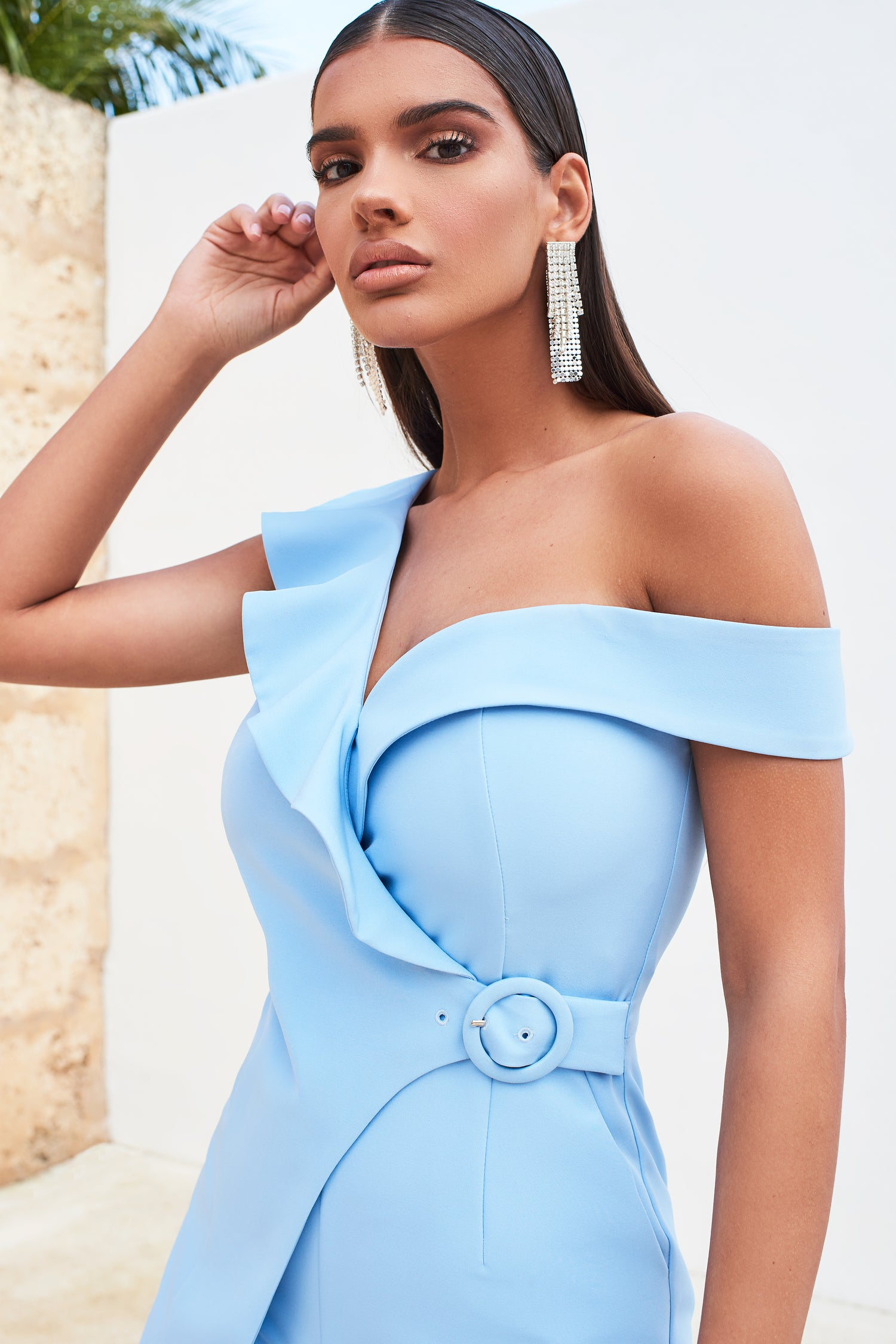 Circle Buckle Ruffle Wrap Playsuit in Cornflower Blue