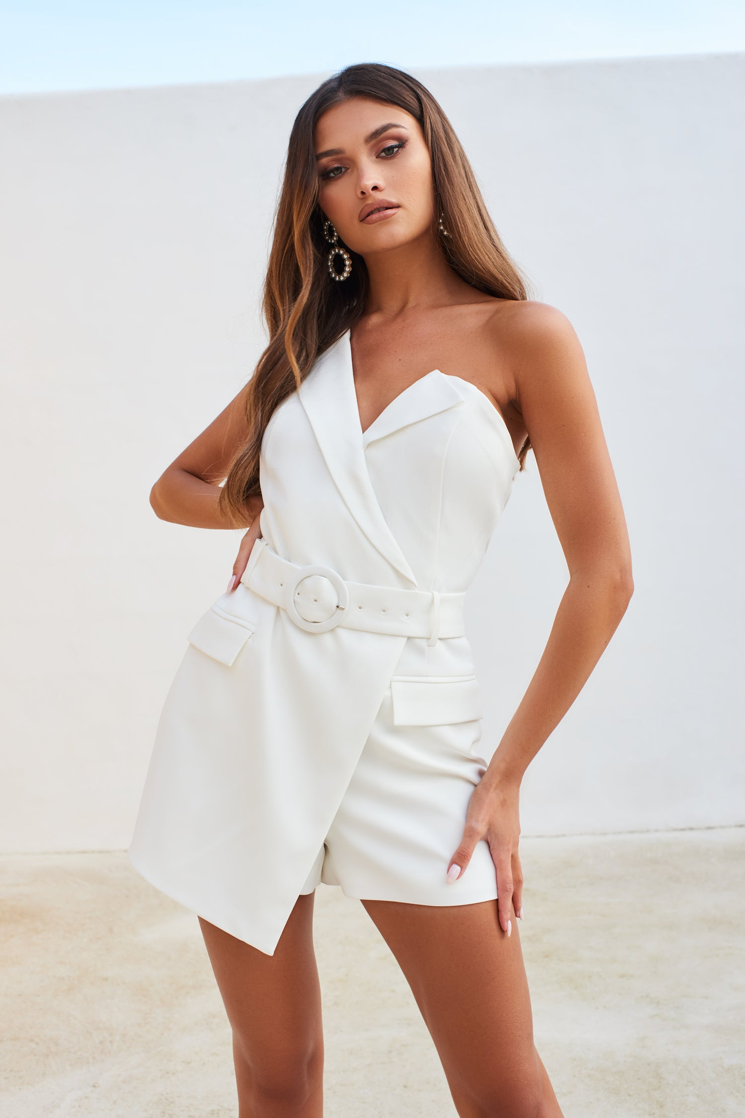 One Shoulder Blazer Playsuit in White