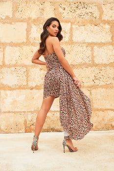 Hand Pleated Chiffon Sweetheart Mini Dress in Leopard Print