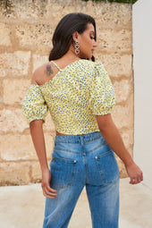 Short Puff Sleeve Crop Top in Yellow Floral Print
