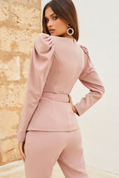 Bustier Puff Sleeve Diamante Belted Jacket in Mink