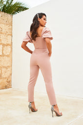 Sheer Corset Puff Sleeve Jumpsuit in Mink