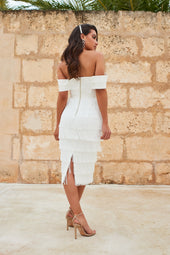 Double Layer Bardot Fringe Midi Dress in White