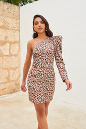 One Shoulder Ruffle Puff Sleeve Mini Dress in Leopard Print