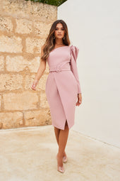 One Shoulder Ruffle Puff Sleeve Wrap Midi Dress in Light Mauve