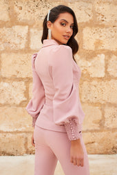 Shirring Detail Balloon Sleeve Jacket in Light Mauve