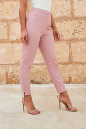 Micro Button Detail Tapered Trousers in Light Mauve
