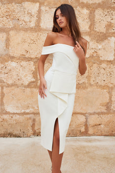 Bardot Peplum Midi Dress in White