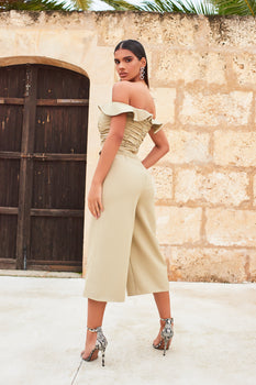 Bardot Frill Culotte Jumpsuit in Olive Green