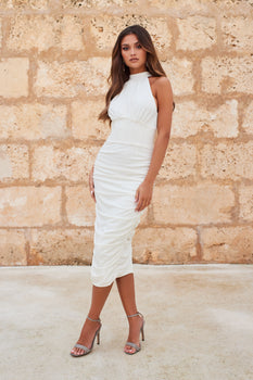 High Neck Gathered Bodycon Dress in White